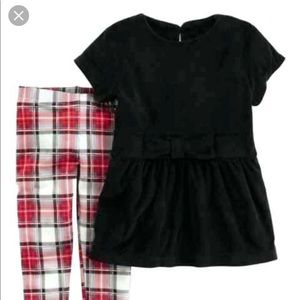 Carter's Black Bow Top with Plaid Leggings